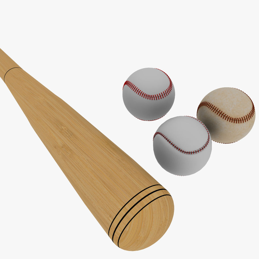 baseball bat and balls royalty-free 3d model - Preview no. 5