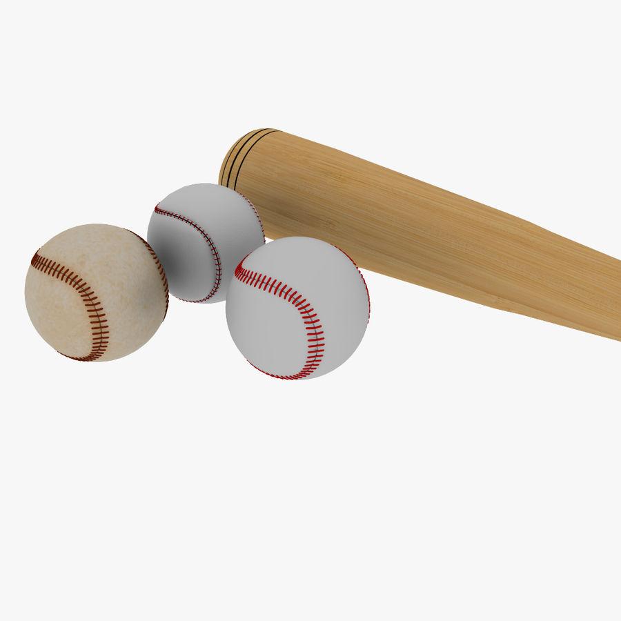 baseball bat and balls royalty-free 3d model - Preview no. 3