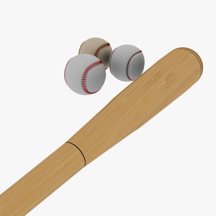 baseball bat and balls royalty-free 3d model - Preview no. 4
