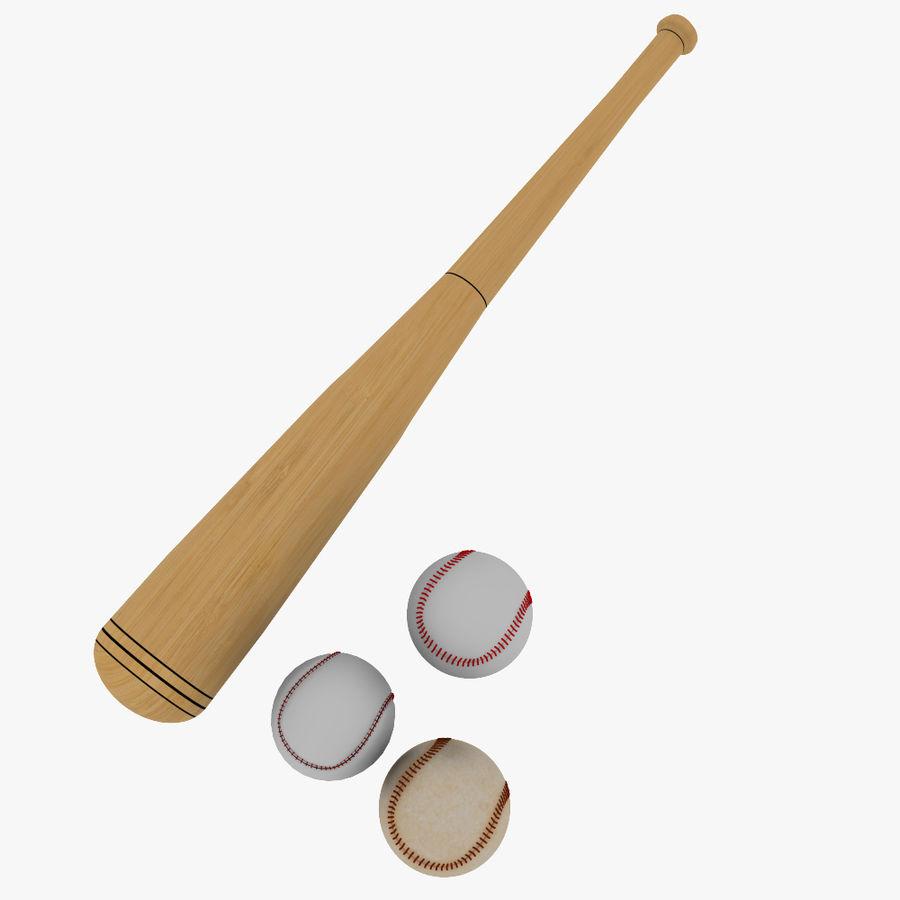 baseball bat and balls royalty-free 3d model - Preview no. 6
