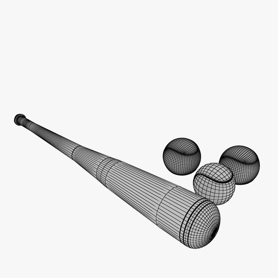 baseball bat and balls royalty-free 3d model - Preview no. 7