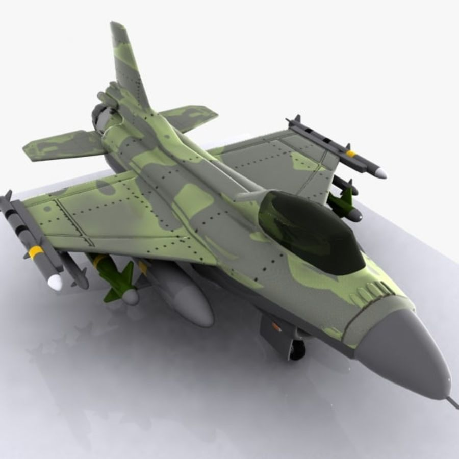 Cartoon Fighter Aircraft 4 royalty-free 3d model - Preview no. 5