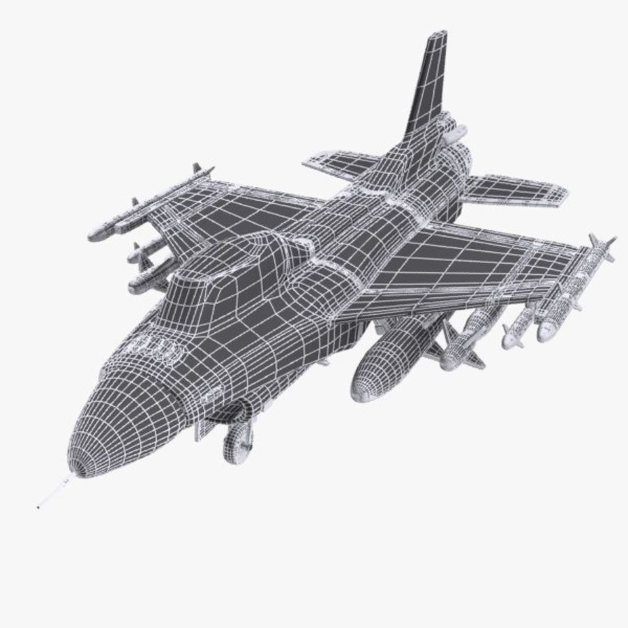 Cartoon Fighter Aircraft 4 royalty-free 3d model - Preview no. 10