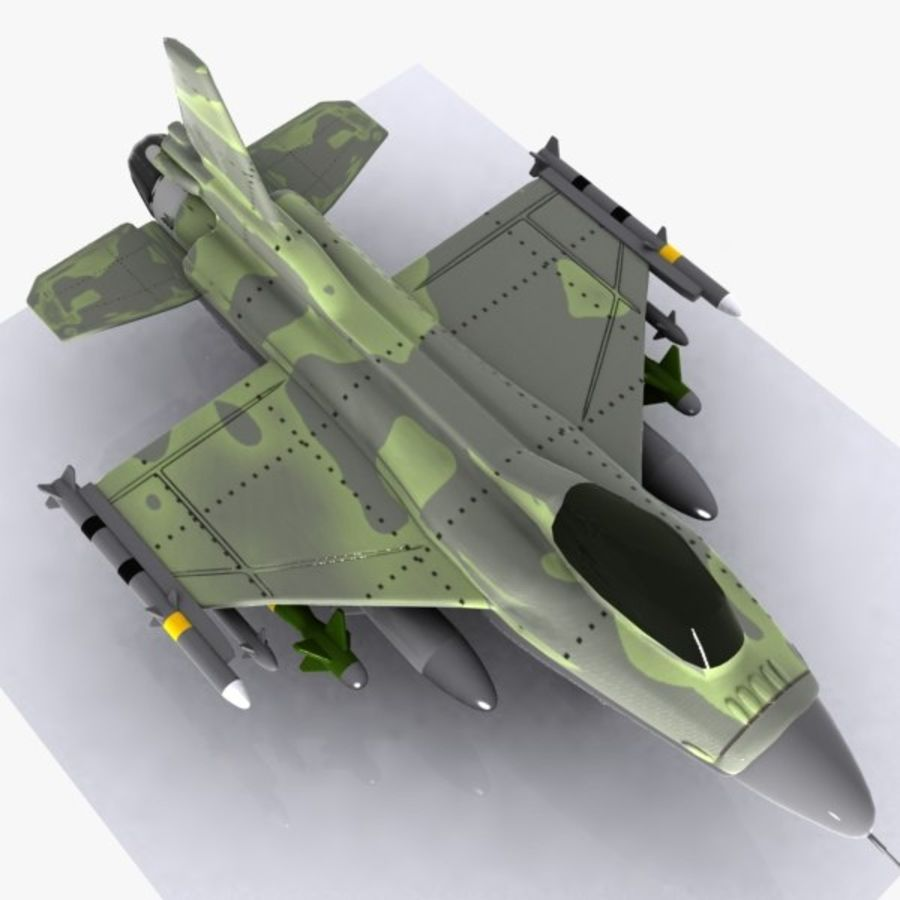 Cartoon Fighter Aircraft 4 royalty-free 3d model - Preview no. 8