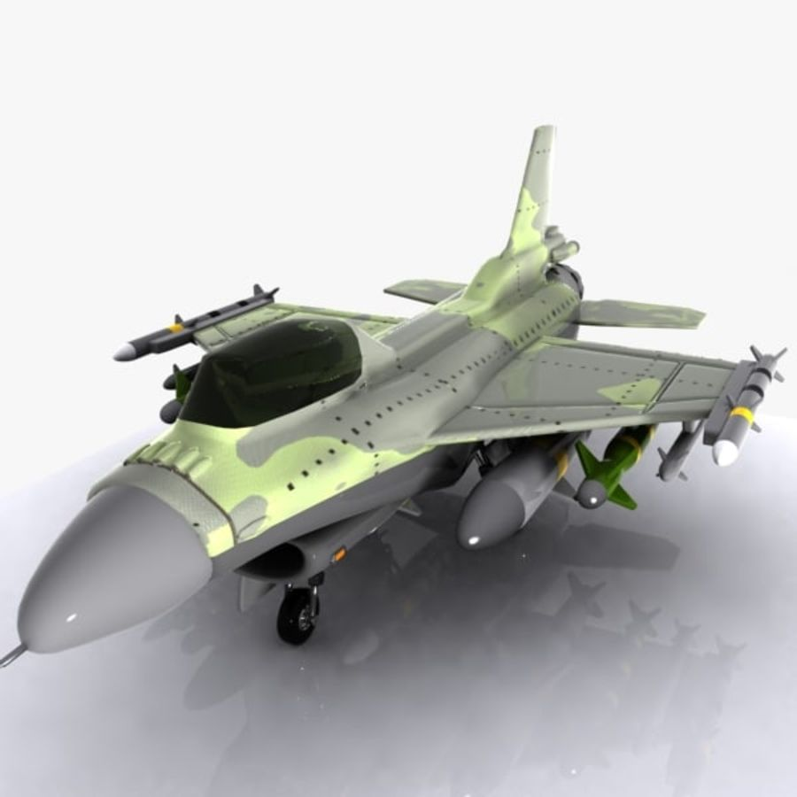 Cartoon Fighter Aircraft 4 royalty-free 3d model - Preview no. 3