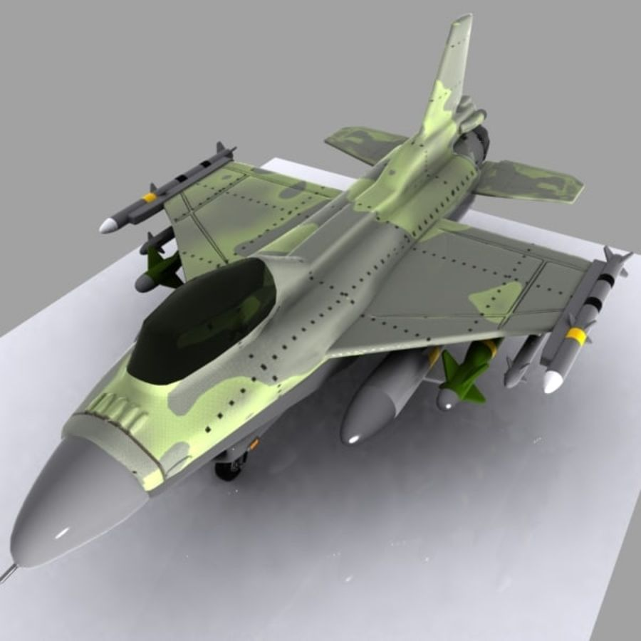 Cartoon Fighter Aircraft 4 royalty-free 3d model - Preview no. 2