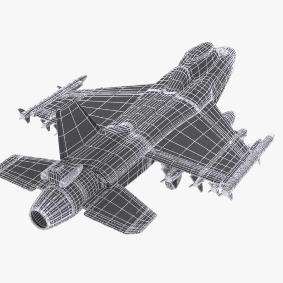 Cartoon Fighter Aircraft 4 royalty-free 3d model - Preview no. 13