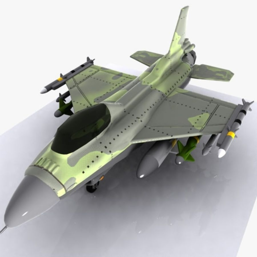 Cartoon Fighter Aircraft 4 royalty-free 3d model - Preview no. 1