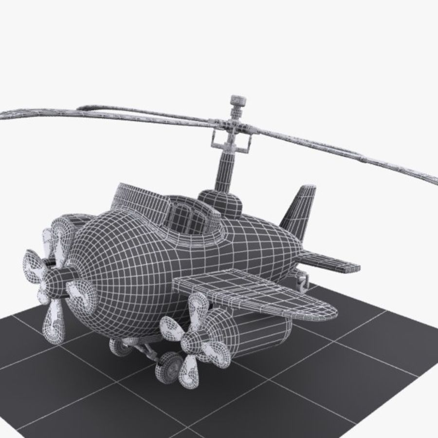 Cartoon Aircraft-Helicopter Hybrid royalty-free 3d model - Preview no. 9