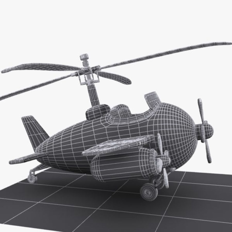 Cartoon Aircraft-Helicopter Hybrid royalty-free 3d model - Preview no. 10