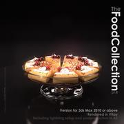 Вишневый торт на стеклянной подставке 3d model