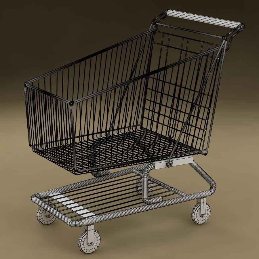 Shopping cart_01 royalty-free 3d model - Preview no. 7