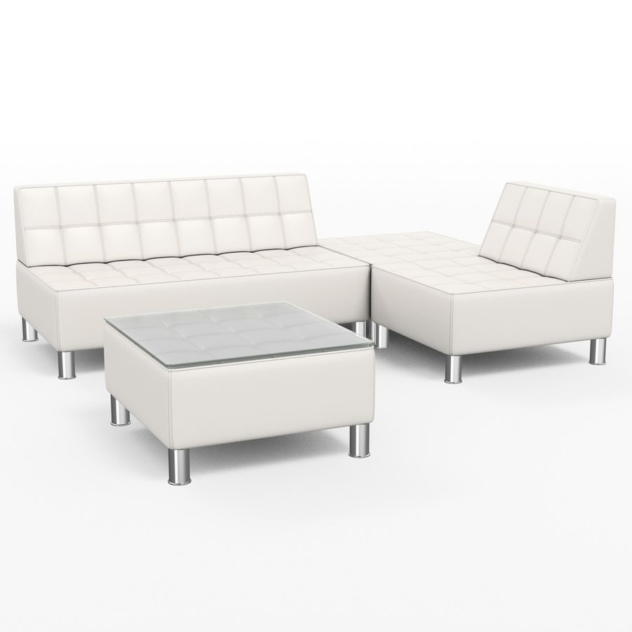 Modular leather sofa royalty-free 3d model - Preview no. 1