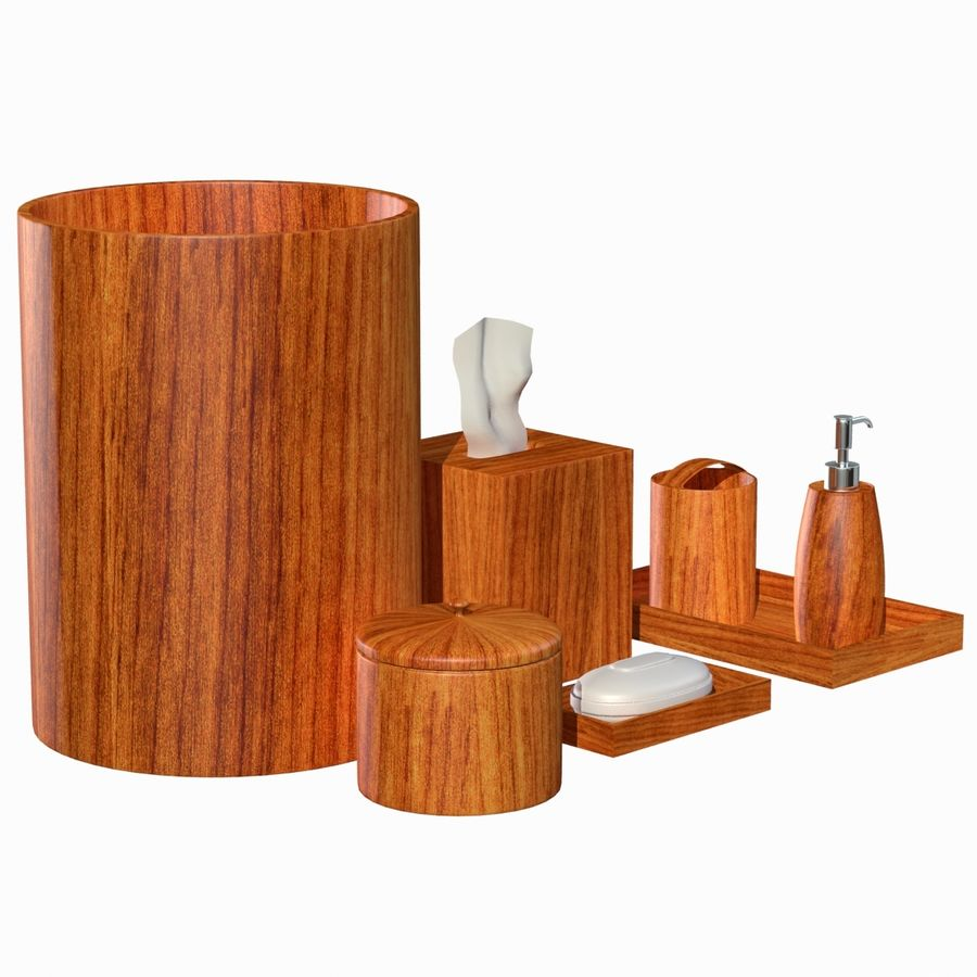 Modern Wooden Brown Bathroom Accessory Set 3d Model 19 Obj Dxf Unknown Max Free3d