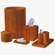 Modern Wooden Brown Bathroom Accessory Set 3d model