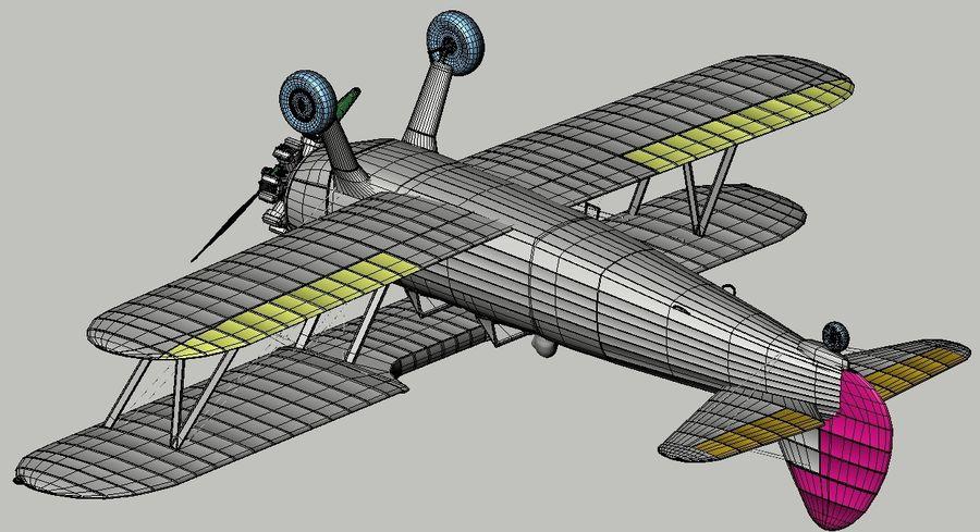 Boeing-Stearman (Model 75) royalty-free 3d model - Preview no. 16