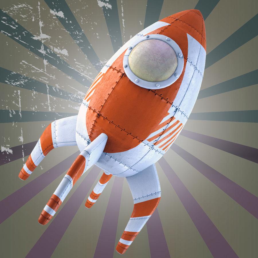 Retro Rocket royalty-free 3d model - Preview no. 2