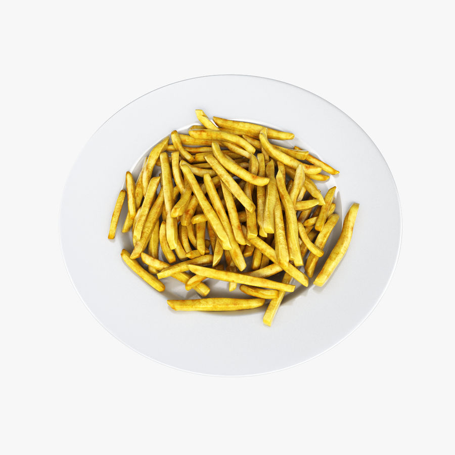 French Fries Plate royalty-free 3d model - Preview no. 1