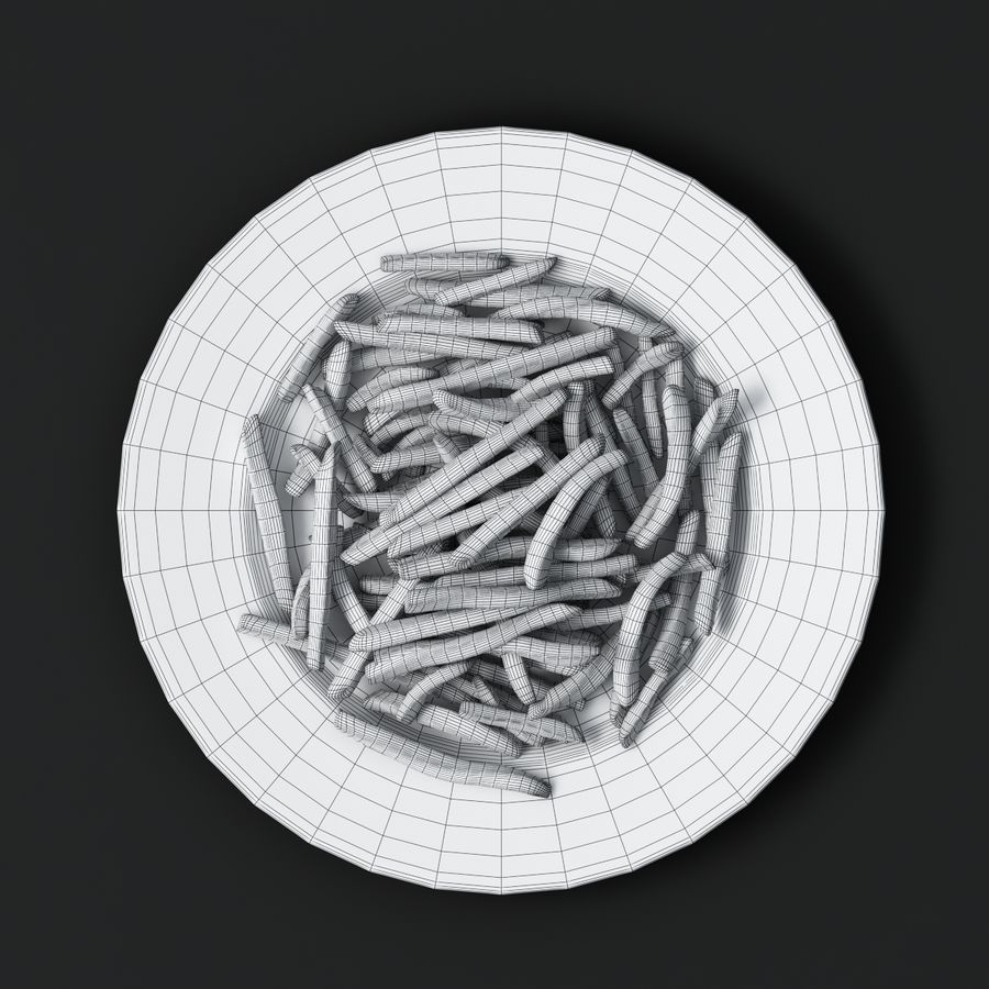 French Fries Plate royalty-free 3d model - Preview no. 6