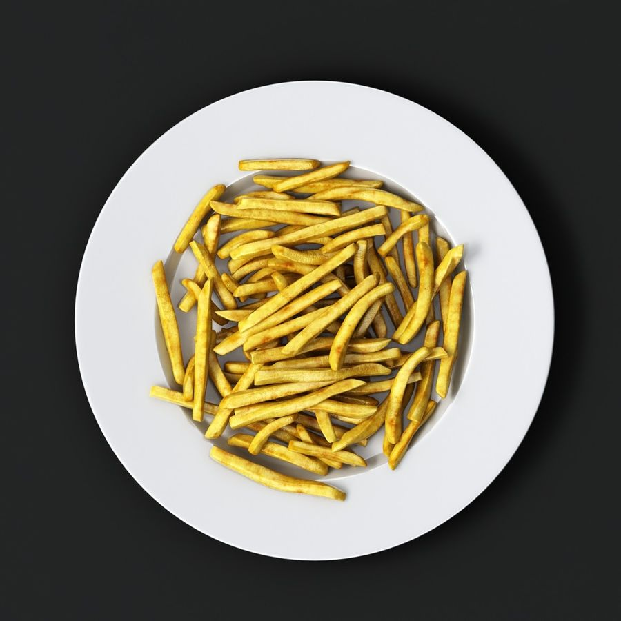 French Fries Plate royalty-free 3d model - Preview no. 4