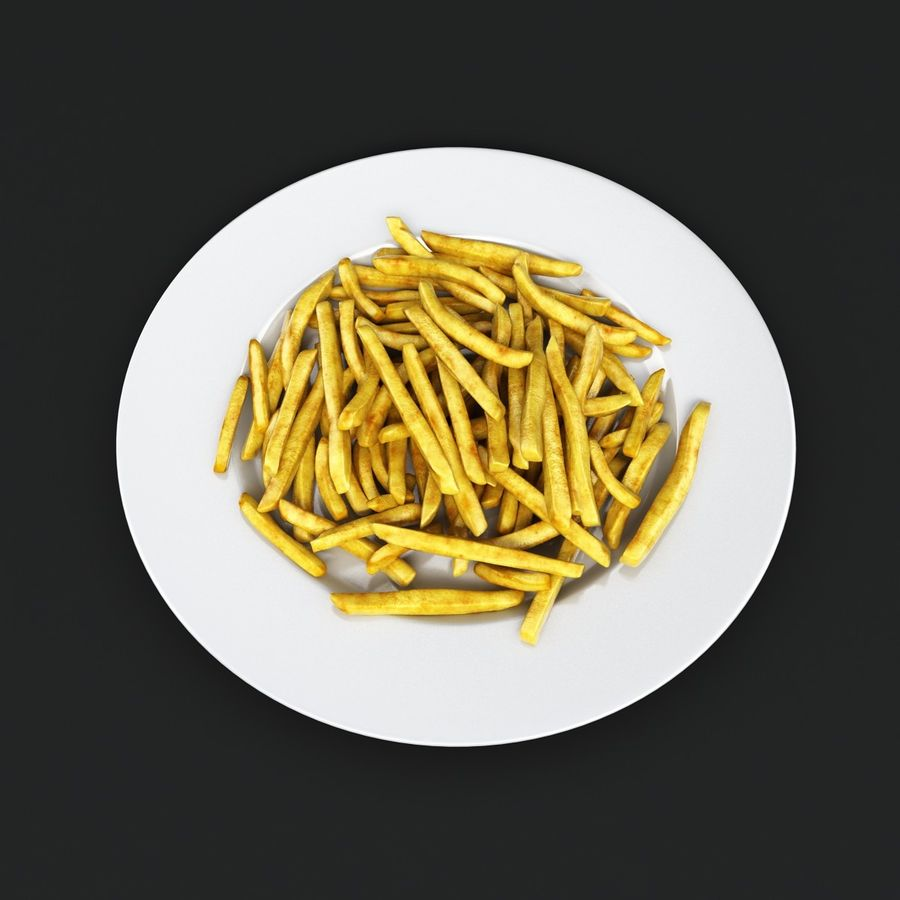 French Fries Plate royalty-free 3d model - Preview no. 2