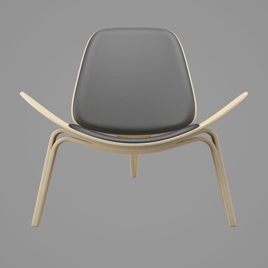 CH07 Shell Chair - Ханс Дж. Вегнер royalty-free 3d model - Preview no. 4