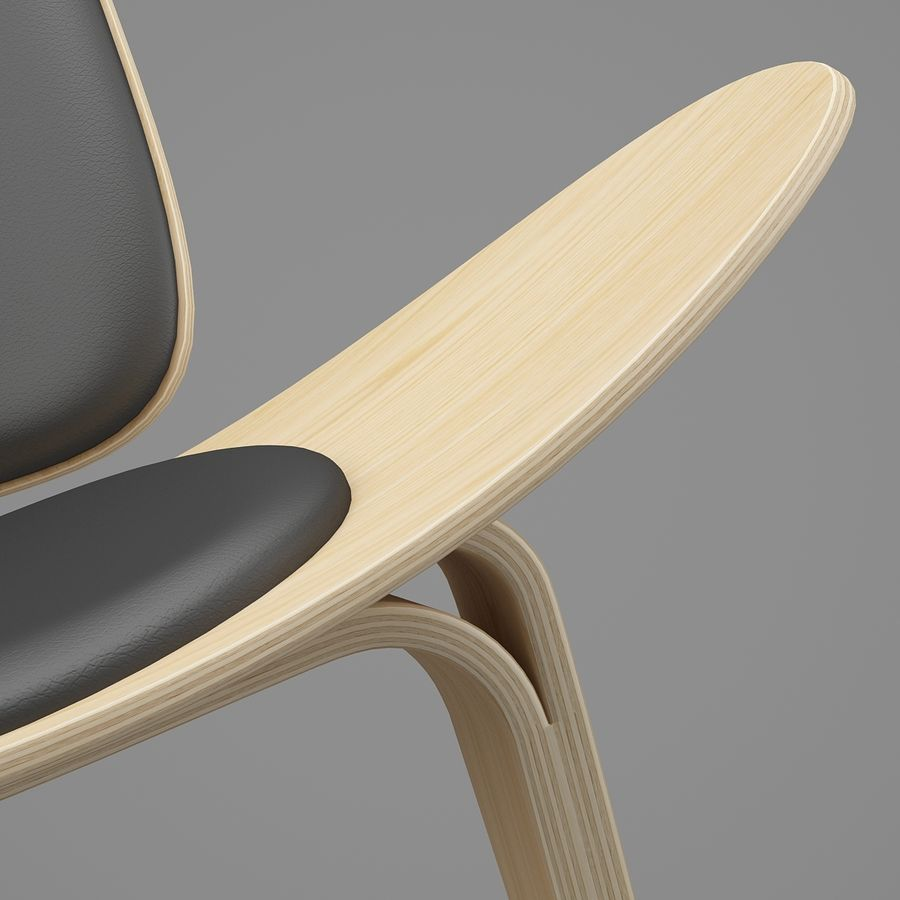 CH07 Shell Chair - Ханс Дж. Вегнер royalty-free 3d model - Preview no. 11