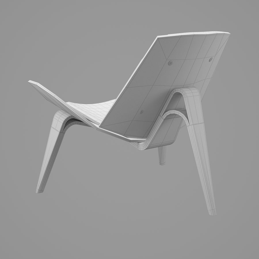CH07 Shell Chair - Ханс Дж. Вегнер royalty-free 3d model - Preview no. 9