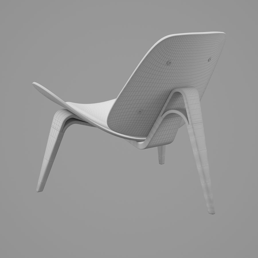 CH07 Shell Chair - Ханс Дж. Вегнер royalty-free 3d model - Preview no. 10