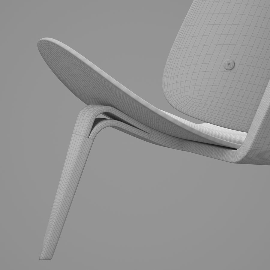 CH07 Shell Chair - Ханс Дж. Вегнер royalty-free 3d model - Preview no. 16