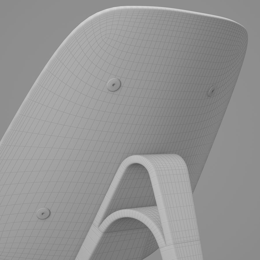 CH07 Shell Chair - Ханс Дж. Вегнер royalty-free 3d model - Preview no. 14