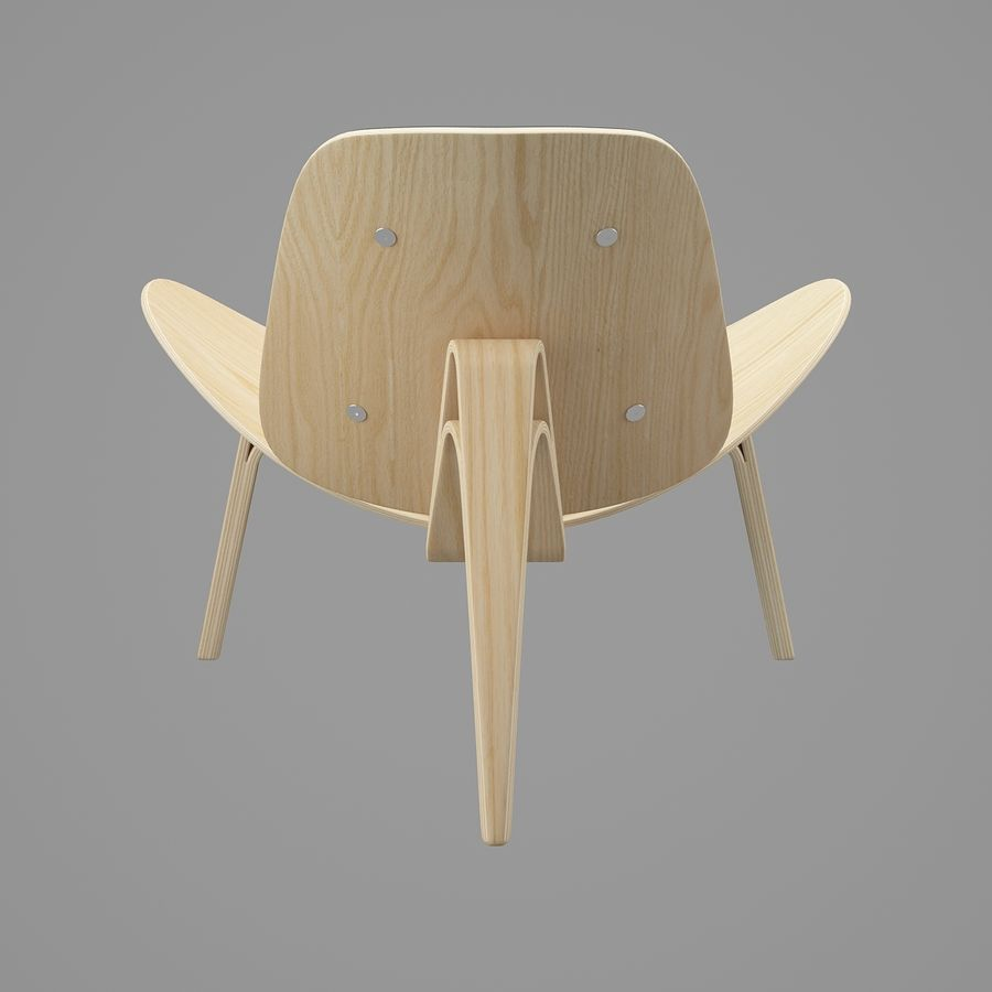 CH07 Shell Chair - Ханс Дж. Вегнер royalty-free 3d model - Preview no. 6