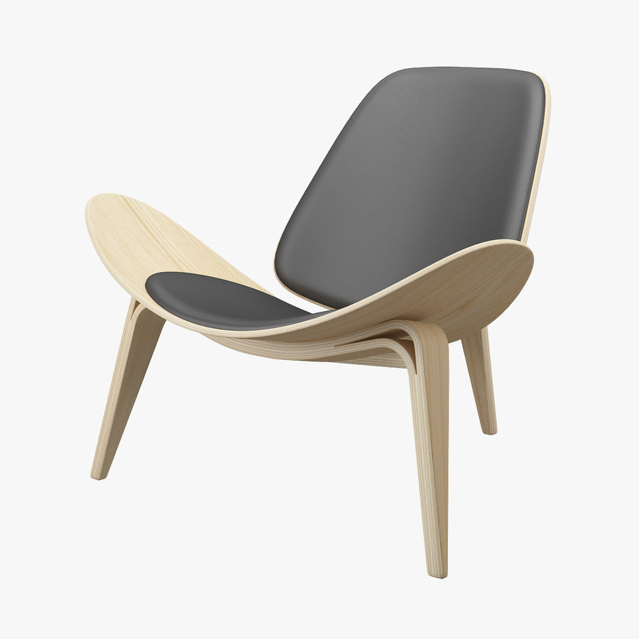 CH07 Shell Chair - Ханс Дж. Вегнер royalty-free 3d model - Preview no. 1