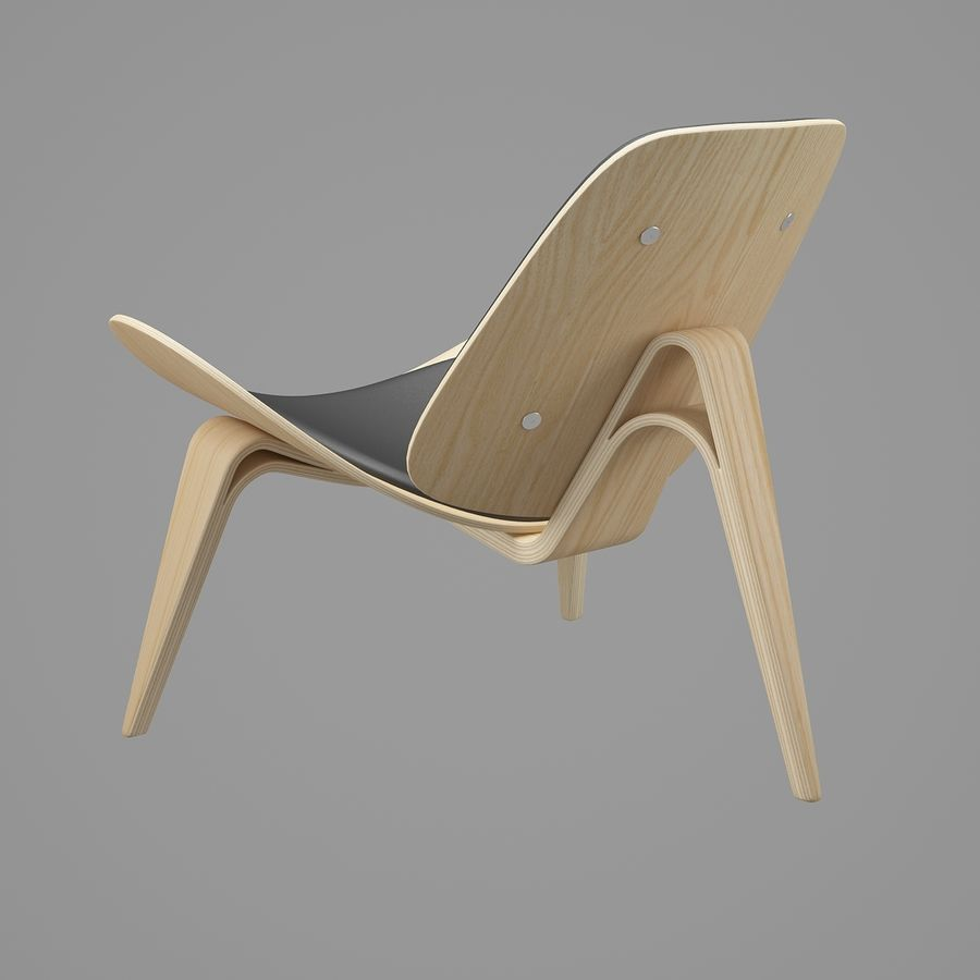 CH07 Shell Chair - Ханс Дж. Вегнер royalty-free 3d model - Preview no. 5