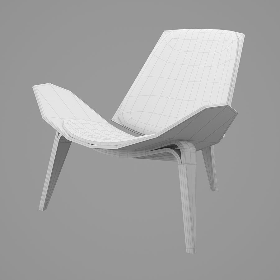 CH07 Shell Chair - Ханс Дж. Вегнер royalty-free 3d model - Preview no. 7