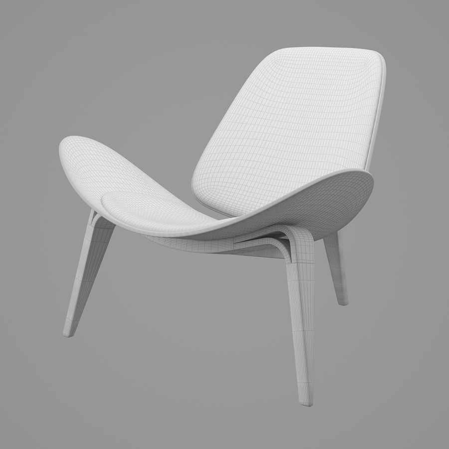 CH07 Shell Chair - Ханс Дж. Вегнер royalty-free 3d model - Preview no. 8