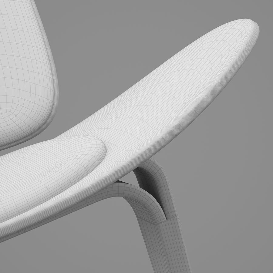CH07 Shell Chair - Ханс Дж. Вегнер royalty-free 3d model - Preview no. 12