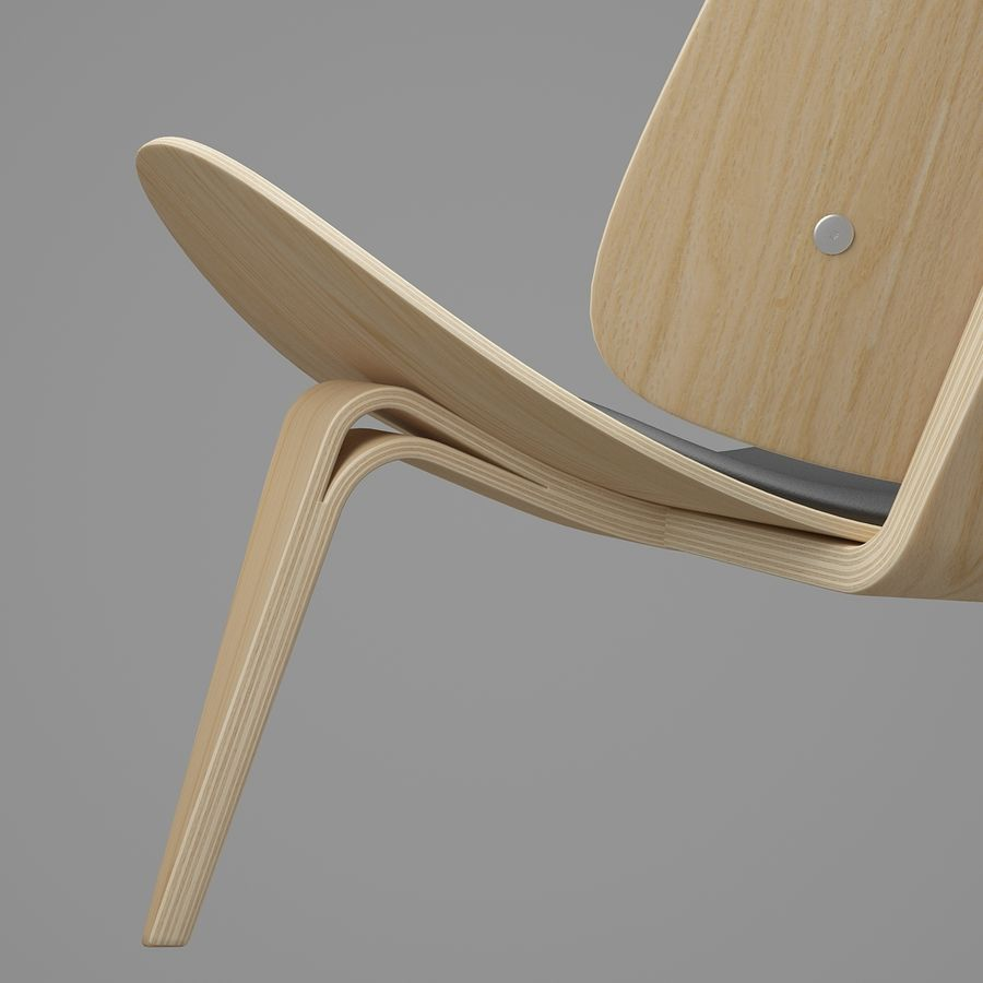 CH07 Shell Chair - Ханс Дж. Вегнер royalty-free 3d model - Preview no. 15