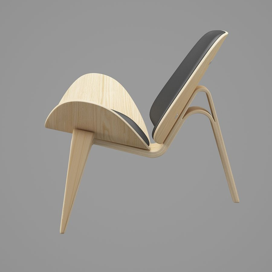 CH07 Shell Chair - Ханс Дж. Вегнер royalty-free 3d model - Preview no. 3