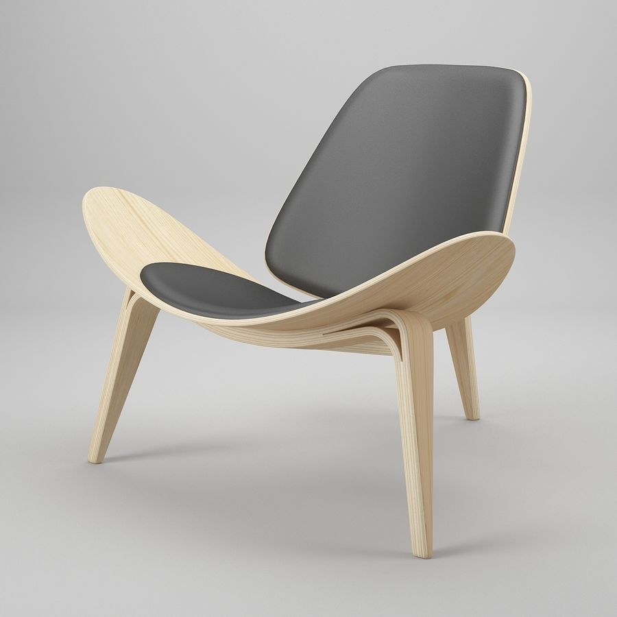 CH07 Shell Chair - Ханс Дж. Вегнер royalty-free 3d model - Preview no. 2