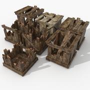 Paletta del magazzino danneggiata Raccolta casse in legno 3d model