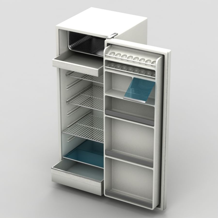 Old Fridge royalty-free 3d model - Preview no. 3