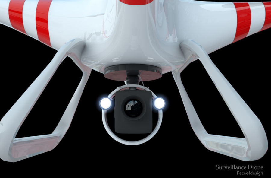 Quadcopter drone royalty-free 3d model - Preview no. 2