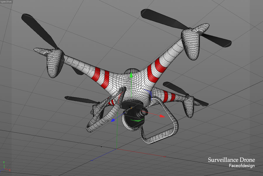 Quadcopter drone royalty-free 3d model - Preview no. 6