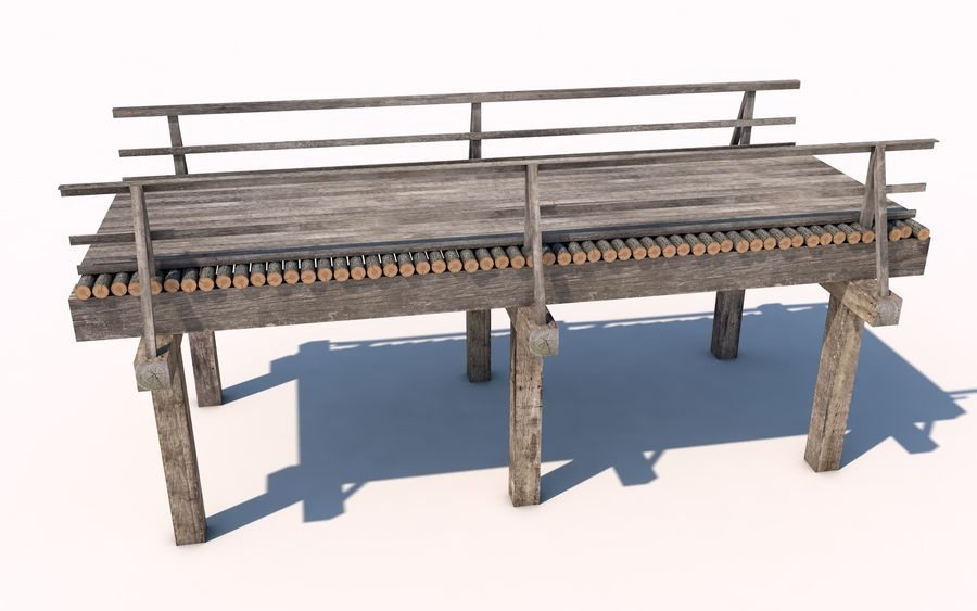drewniany most royalty-free 3d model - Preview no. 6