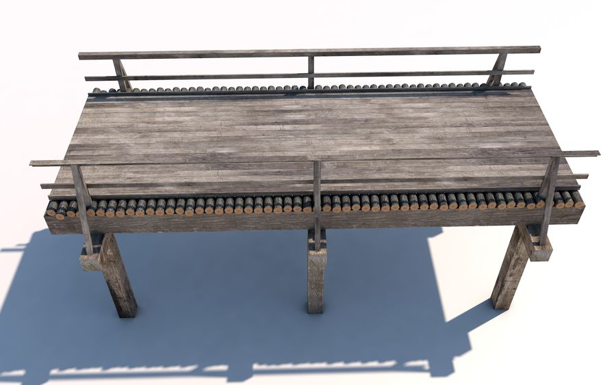 wood bridge royalty-free 3d model - Preview no. 2