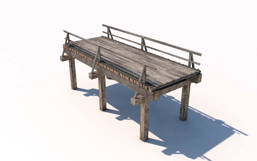 wood bridge royalty-free 3d model - Preview no. 1
