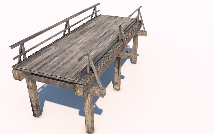 wood bridge royalty-free 3d model - Preview no. 3
