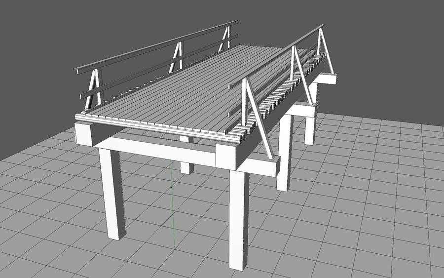 wood bridge royalty-free 3d model - Preview no. 7