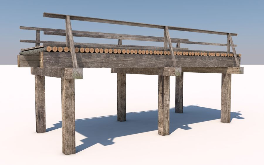 wood bridge royalty-free 3d model - Preview no. 5
